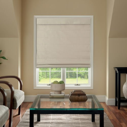 Cordless Fabric Roman Shade Linen 31x64 by Window Blind Store