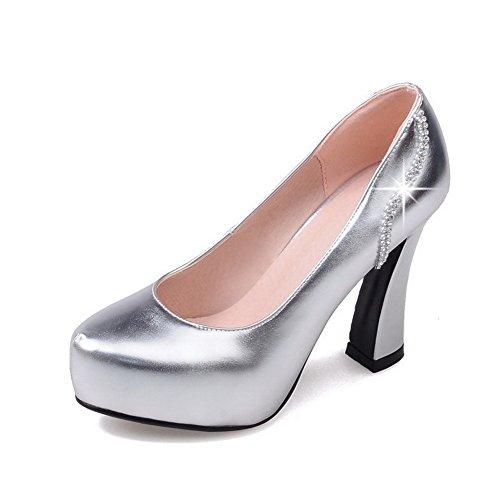 VogueZone009 Damen Hoher Absatz Ziehen auf Rein Blend-Materialien Rund Zehe Pumps Schuhe Silber