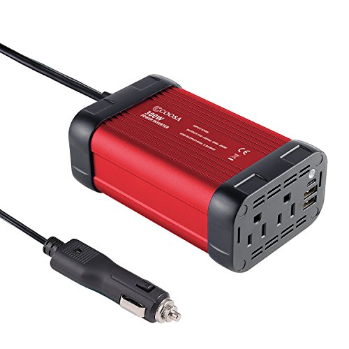 COOSA 300W USB C Car Power Inverter DC 12V to 110V AC Vehicle Power Converter with 4.8A Dual USB A Charging Ports Car Adapter (Black red) (Charger Standard Vehicle Lighter)