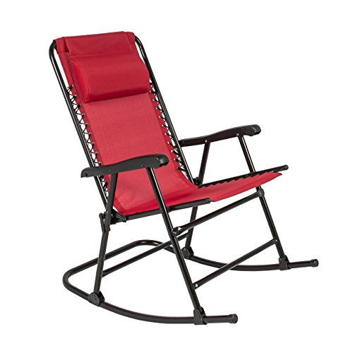 Best Choice Products Folding Rocking Chair Foldable Rocker Outdoor Patio Furniture Red -