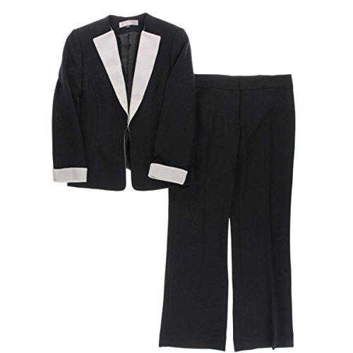 Tahari ASL Women's Petite Crepe Color Block Pant Suit, Navy/White, 14 Petite