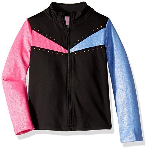 Jojo Siwa By Danskin Girls' Big Sparkle Jacket, Black/Pink Multi Colorful rainbows-00101, ()