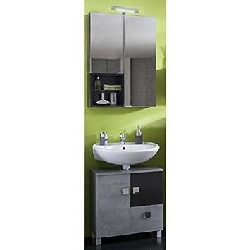 Waschplatz Badmbel Set grau, anthrazit Badezimmer LED Spiegelschrank ...