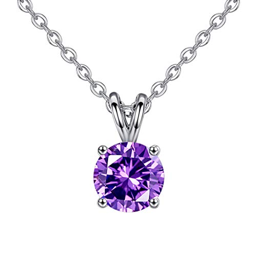 XBKPLO Necklace for Women Simple Pendant Four-Prong Round Zircon V Choker Clavicle Chain Wild Silver Accessories Gift Jewelry -