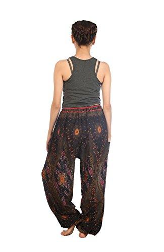 bohemien Coulisse Donna Pantaloni 2 Casual Nero boemo Harem da Floral Lofbaz Aladdin 5qYnUHn