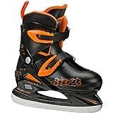 Lake Placid Boys Nitro 8.8 Adjustable Figure Ice Skate, Black/Orange, Small (11-13) by Lake Placid