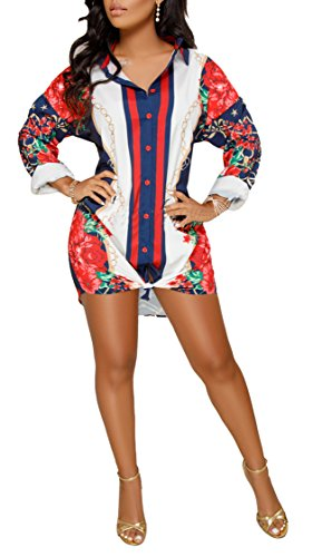 Speedle Womens Floral Print Button Down Collar Long Shirt Dress Blouse Mini Dress L