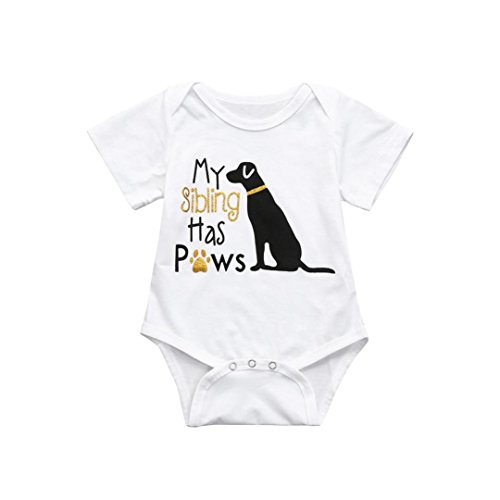 Toddler Infant Baby Boys Girls Short Sleeve Letter Dog Romper Jumpsuit Climbe Clothes Outfits (White, 6-12 Months)