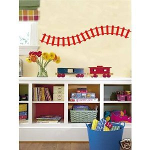 Curved Train Track Wall Decals Stickers Childrens Room Art, Fire Red by EYE CANDY SIGNS
