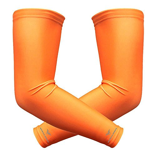 1 Pair Bucwild Sports Arm Cooling Sun Protection Compression Arm Sleeves - Youth & Adult Sizes - Baseball Basketball Golf Tennis Running (Orange, Large (adult)