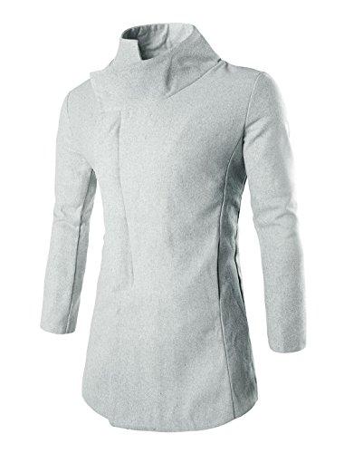 Allegra K Men Hidden Button Closed Turn Down Collar Longline Outercoat Grey L