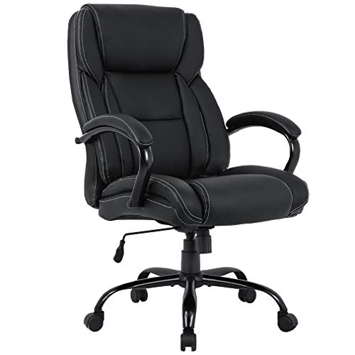 Big and Tall 500lb Office Chair High-Back Executive Chair Ergonomic PU Desk Task Rolling Swivel Chair with Lumbar Support Headrest Leather Chair