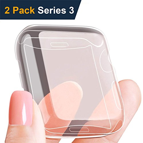 (2 Pack) Wokeyou Compatible with Apple Watch 3 Case 38mm, Buit in TPU Watch Screen Protector and Flexible Full Coverage Compatible with iWatch Case Compatible with Apple Watch Series 3/2