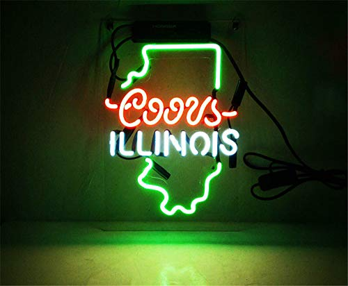 New Star Neon Sign Factory 14X9 Inches Real Glass Neon Sign Light for Beer Bar Pub Garage Room Coors Light Illinois.