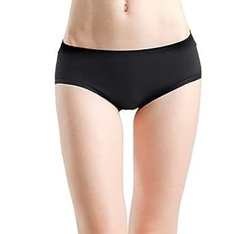 Lucky Commerce Women's Modal Cheeky Briefs Hipster Panties Underwear Black 5 Packs