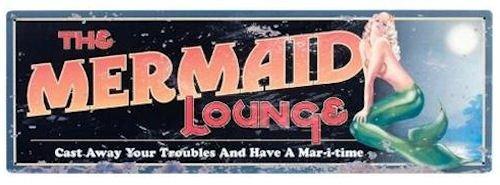 "(The Mermaid Lounge Tin Sign 24""L Nautical Tropical Home Decor)"