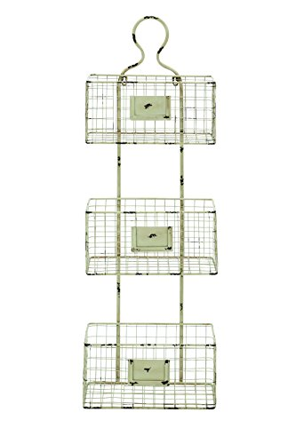 - Benzara Three Tiered Metal Wire Basket Shelf with White Weathered Accent