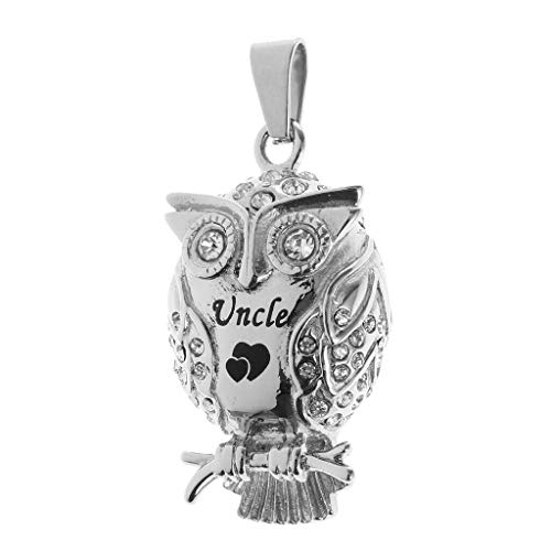 - Enamel Heart Print Rhinestone Owl Bird Urn Cremation Ash Holder Memorial Pendant Necklace Jewelry Crafting Key Chain Bracelet Pendants Accessories Best| Item - Uncle