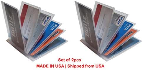 Set of 2 Heavy Duty Vinyl 6 Pages Stagger Hipster Men Wallet Insert MADE IN USA