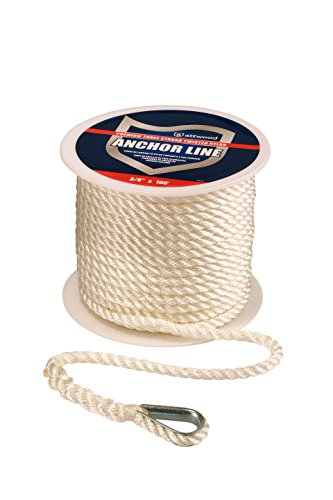 attwood 11734-1 Premium 3-Strand Twisted Nylon Anchor Line with Thimble 3/8-Inch x 100-Feet, White (Lines Anchor Three Strand)