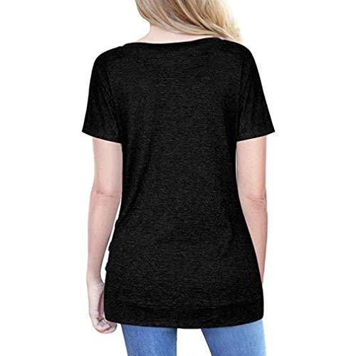 T RDuire Femme Femmes LMMVP Vrac Unie Col Chemisier Bouton LianMengMVP en Courte Manche Noir Rond Shirt Couleur Pulls Tunique pqwwfza