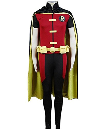 TISEA Young Justice Cosplay Costume Robin Halloween Cape Pants (S, Male) - Robin Costume Young Justice