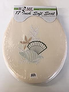 sea shell toilet seat. The American Dream Collection 17 Inch Fantasia Design Soft Toilet Seat Ivory  with Cushioned With Embroidery Seashell