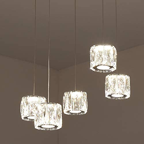 Temgin Pendant Lighting 5 Lights Chandelier Crystal LED 15W Adjustable Height Ceiling Light Fitting Modern