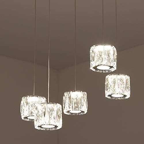 Temgin Pendant Lighting 5 Lights Chandelier Crystal LED 15W Adjustable Height Ceiling Light Fitting Modern
