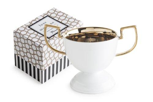 Rosanna 94940 Luxe Moderne Trophy Bowl, Medium, White/Gold by Rosanna