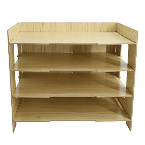PeleusTech® 4 Layers Wood Storage Rack Durable Office Organization for File Desktop Organizer Shelf for Books Documents - (Wood Grain) by PeleusTech® (Image #6)