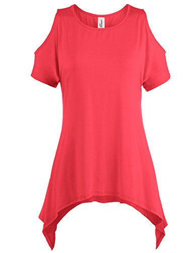 Asymmetric Hem Cold Shoulder Tunic Tops, 002-Coral, US 1XL