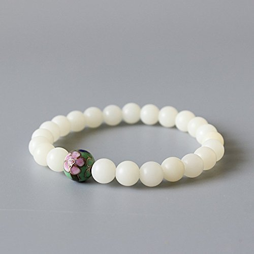 TALE White Bodhi Seed Beads Chinese Cloisonne Beaded Stretch Bracelet For Women Zen Buddhism Yoga Healing Jewelry Handmade