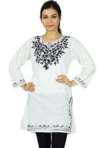 India de Bollywood Kurta Mujeres étnico Kurti Top bordado ocasional de la túnica vestido En blanco y negro