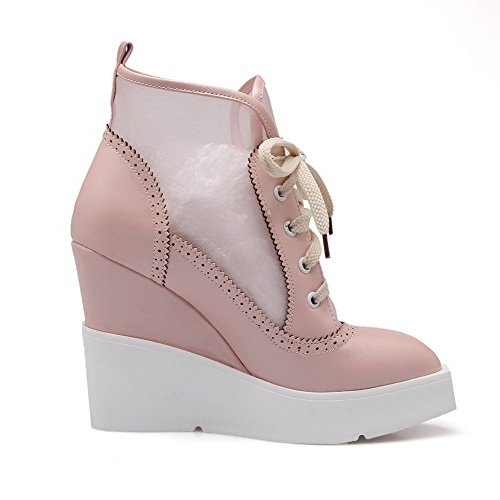 Boots Heels Toe Closed AmoonyFashion Women's Pointed and Platform Toe Pink High with Wedge EnqCC0pwt