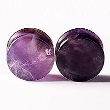 "D&M Jewelry 2PCS Purple Natural Amethyst Stone Ear Gauges Flesh Tunnels Plugs Stretchers Expander 2g-5/8"""