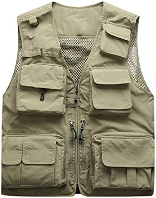 QIQIDEDIAN 釣りベスト 男性の春と夏のベストベストベスト中年マルチポケットポケット釣り記者写真家 (Color : Beige, Size : M)