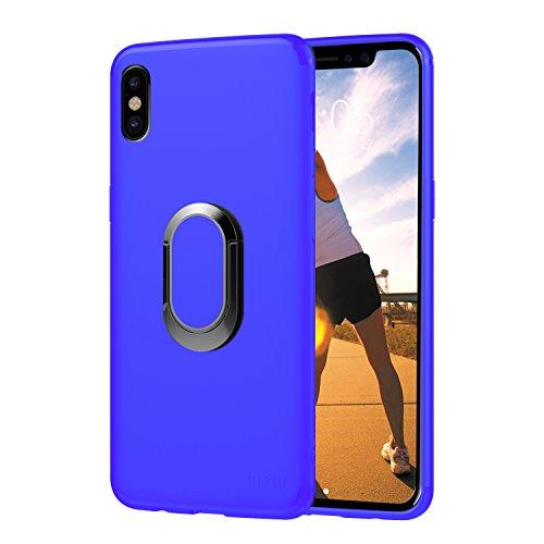 Funda iPhone X, Orzly Slim-Stand Case para el iPhone X/iPhone 10 (Modelo 2017) - Carcasa Ultra-Fina Protectora [Anti-Arañazos] en ROSA con Ring Stand Integrado para Mejor Agarre y Soporte para la Pant AZUL para iPhone X
