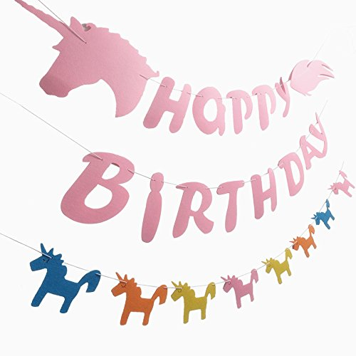 Unicorn Happy Birthday Banner Party Supplies Rainbow Garland Unicorn Themed Decorations for Kids Girls Boys Felt Pennants ()
