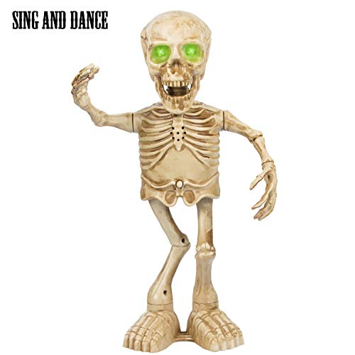 ITART Halloween Skeleton Decoration Dancing Singing 16-Inch Skeleton Prop with LED Eyes Fun Animated Toy Gift for Kids Teens Party