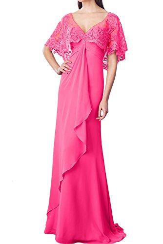 Neu 2017 Neck Lang V Partykleider Abendkleider Ballkleider Chiffon IvydressingTraumhaft Pink Spitze UqdRUw