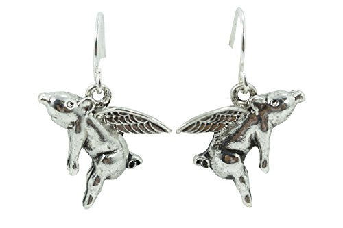 Love in the Air Cupid Pig Angel Charm Earrings