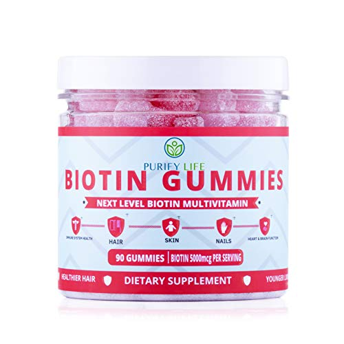 Anti Aging Biotin Gummies for Hair Growth, Glowing Skin, and Stronger Nails  90ct  Pectin-Based Multivitamin Supplement for Men and Women with Vitamin A, B6, B12, C, D6, E, Zinc - 5000 Mcg