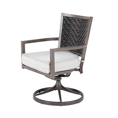 (Nuu Garden Indoor Outdoor Patio Aluminum and PE Resin Wicker Dining Rocking Swivel Lounge Chair with Cushions (set of 2))