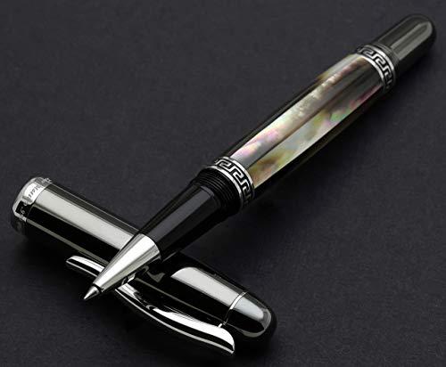 Xezo Handmade Platinum Plated Rollerball Pen, Metallic Finish (Maestro Black MOP Tungsten RPL) ()