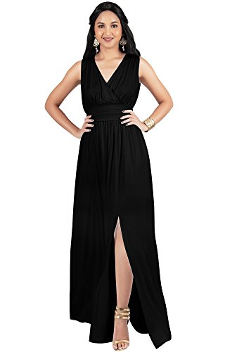 KOH KOH Womens Long Bridesmaid Wedding Guest Cocktail Party Sexy Sleeveless Summer V-Neck Evening Slit Day Full Floor Length Gown Gowns Maxi Dress Dresses, Black M 8-10