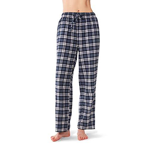 SIORO Womens Flannel Pajama Pants Soft Cotton Plaid, Sleepwear Loungewear Bottoms Long, Navy and White Plaid, L - Flannel Womens Sleep Pant