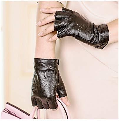 BTXXYJP 女性の手袋露の半分の屋外のかわいい運転の運転の革半分の指の手袋 (Color : ブラック, Size : L)