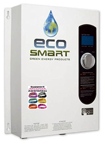 ECOSMART 18 Electric Tankless Water Heater for Radiant Heating + (1) Free I LOVE BOOBIES Bracelet to Support Breast Cancer Awareness (18kw Water Heater)