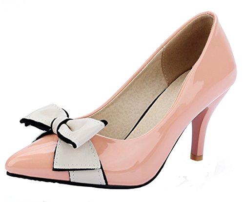 YE Damen High Heels Spitz Stiletto 7cm Kitten Heel Elegante Office Pumps Mit Schleife Schuhe Rosa